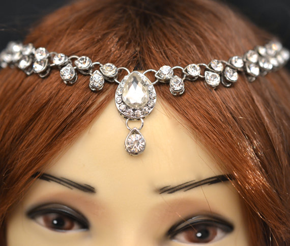 Silver Crystal Indian Matha Patti Tikka Head Chain Jewelry Bridal Wedding Prom 43 2306940
