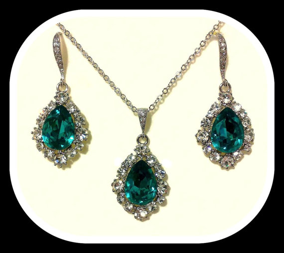 Peacock Teal Silver Jewelry Set Swarovski Crystal Necklace
