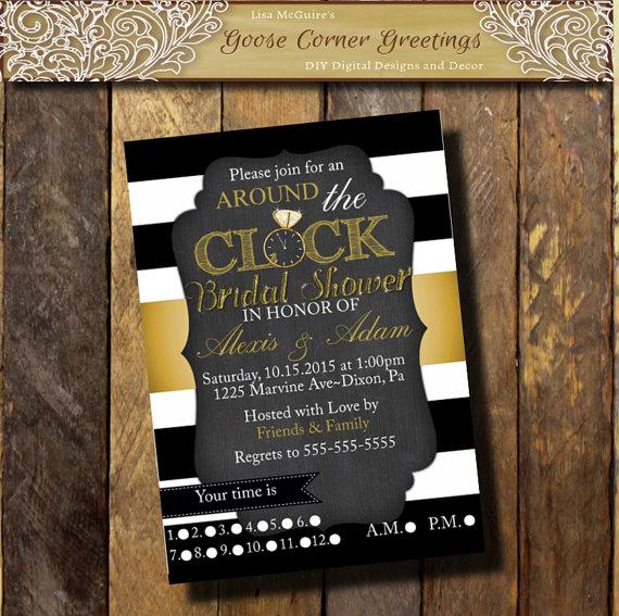Choose colors around the clock bridal shower invitation black white choose colors around the clock bridal shower invitation black white gold striped baby shower invite clock shower house shower filmwisefo