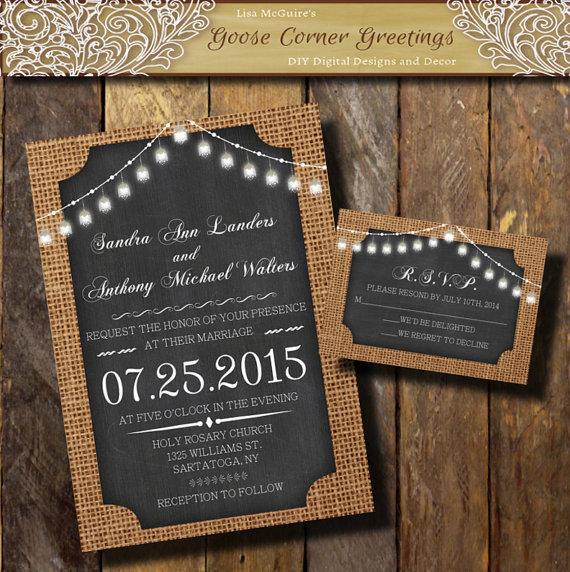 BURLAP Wedding Invitation Bell String Lights Chalkboard Rustic Invitations Shower Birthday Baby