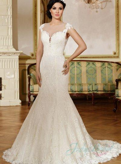 Mermaid Wedding Dress with Lace Cap Sleeves