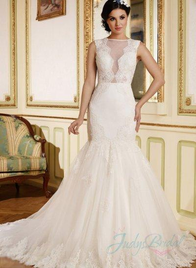 Jw15169 Y Illusion Plunging Front Sheer Back Lace Wedding Dress