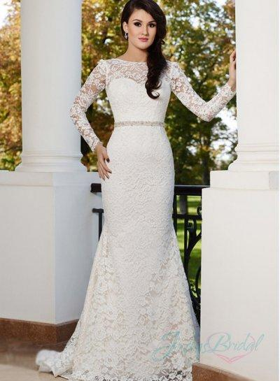 Jw15170 sexy backless long sleeves lace sheath wedding for Sheath wedding dresses lace