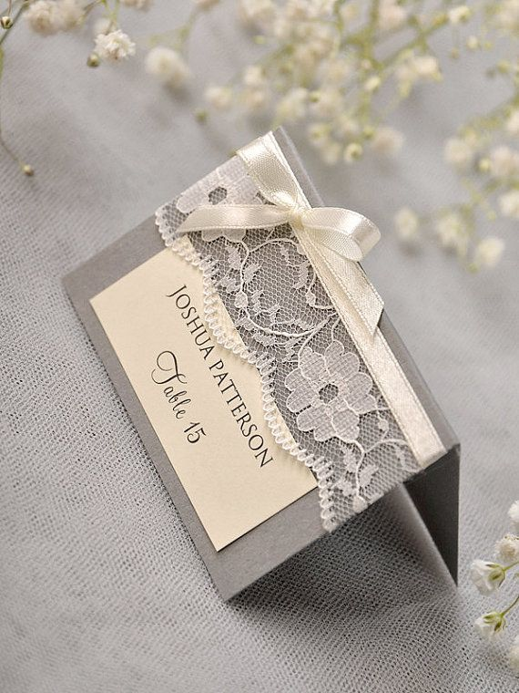 custom listing 20 grey lace place card vintage tented place cards lace escort card name card bowl place cards - Custom Place Cards