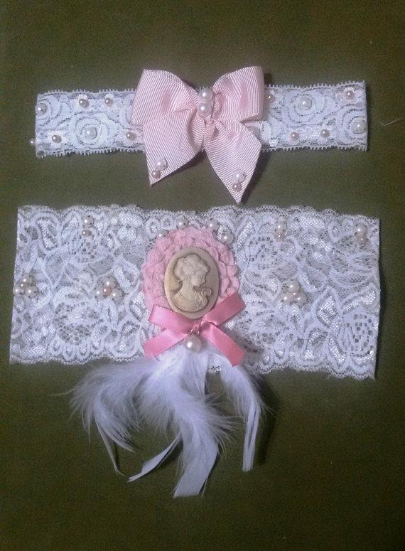Boda - Wedding Garter Set , Ivory Lace Garter Set, Bridal Garter Accessory, Wedding Accessory, Bridal Accessory