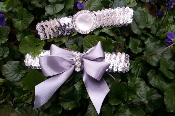 Wedding - Wedding leg garter,Wedding Garter Set, Bridal Garter Set, Silver Sequined Garter, Bridal Accessory,Wedding Accessory