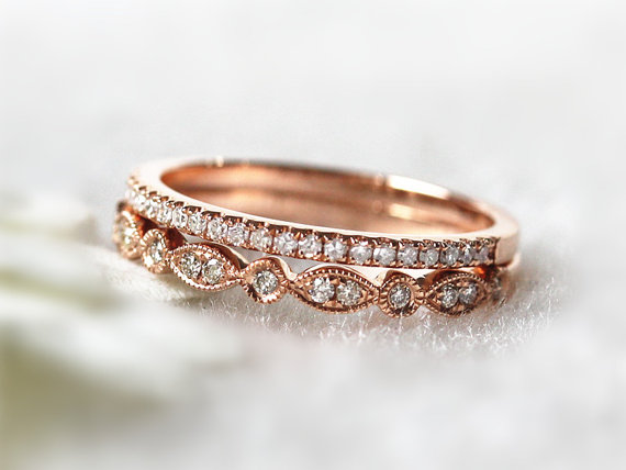 14K Rose Gold Ring Set Stacking Ring Stackable Band Diamond Wedding