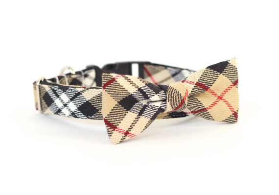 Mariage - New Color! Huntington Plaid, Designer dog collars, Bow Tie Dog and Cat Collar Bow Tie Dog Wedding- Dog Collar, Wedding Dog Collar