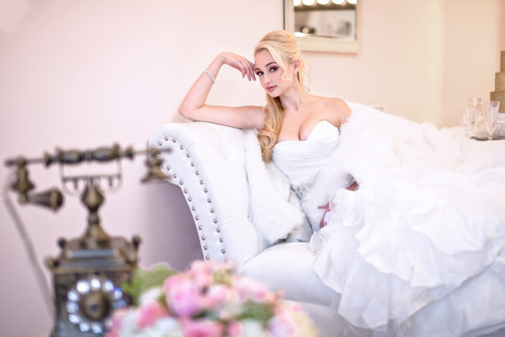 SAMPLE SALE - Taffeta Wedding Dress , Off White, Mermaid, Ruffles ...
