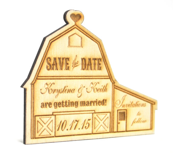 Hochzeit - Personalized Rustic Country Wooden Barn Wedding Save the Date Magnet, Custom Engraved Invitation