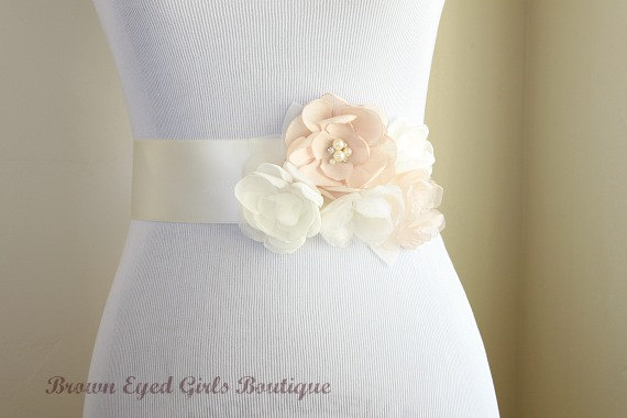 Hochzeit - Blush Champagne and Ivory Bridal Sash, Blush Wedding Sash, Blush Wedding Belt
