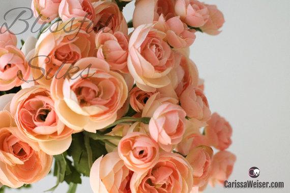 زفاف - Flower Bush - BLUSH PINK Mini Ranunculus Bush - Flowers On STEM With Leaves - Artificial Flower Bush