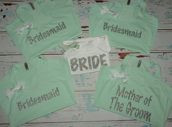 Hochzeit - Bachelorette tanks. (6) Bridesmaid tanks. Bridesmaids shirts. wedding tank top. bride tank. bride shirt. bachelorette shirt. bachelorette