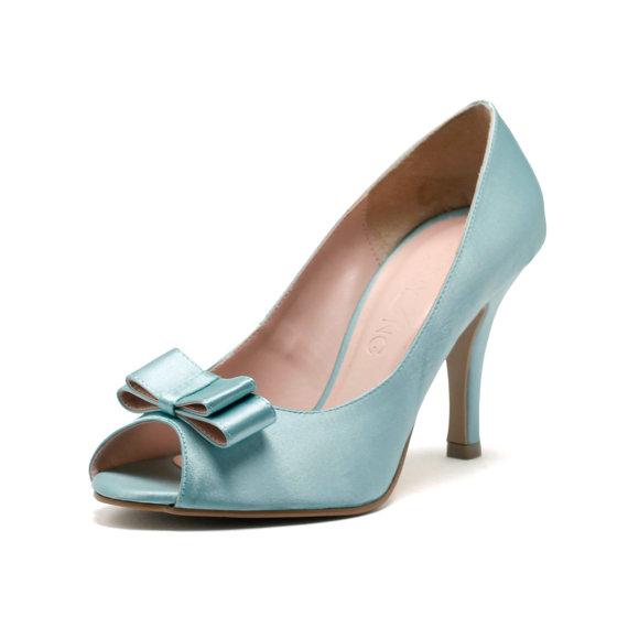 Hochzeit - Princess Layla, Blue Peep Toe Court Shoes, Tiffany Blue Bridal Heels, Blue Satin Wedding Heels,  Three and a Half Inch Blue Dinner Heels