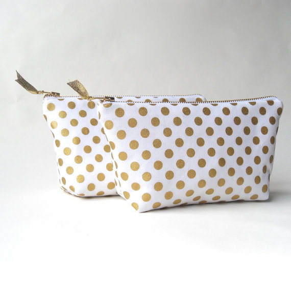 Свадьба - Bridesmaids clutch, gold cosmetic bag, SALE clutch, gold bridesmaids gift ideas, gold wedding, gold polka dot, unique bridesmaids gifts