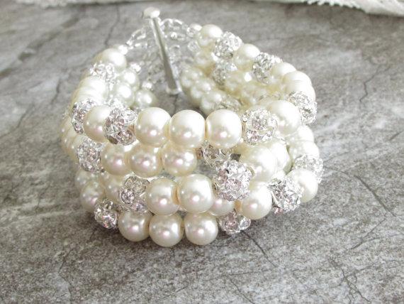 Bridal Cuff Bracelet Chunky Pearl Jewelry Bridesmaid Crystal