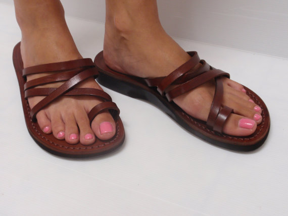 Mariage - SALE ! New Leather Sandals VENUS Women's Shoes Thongs Flip Flops Flats Slides Slippers Biblical Bridal Wedding Colored Footwear Designer