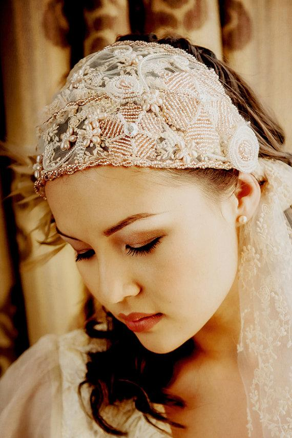 Mariage - SALE WAS 155GBP now 100GBP bridal beaded cap veil tied cap veil ADELLE vintage wedding