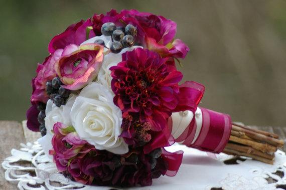 Mariage - Marsala Deep Plum Wine Burgundy Silk Bouquet with Boutonniere