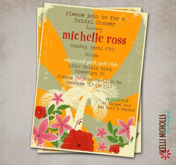 Свадьба - Hawaiian Luau Bridal Shower Party Invite, Custom Printable Beach Wedding Shower Invitation, Hibiscus
