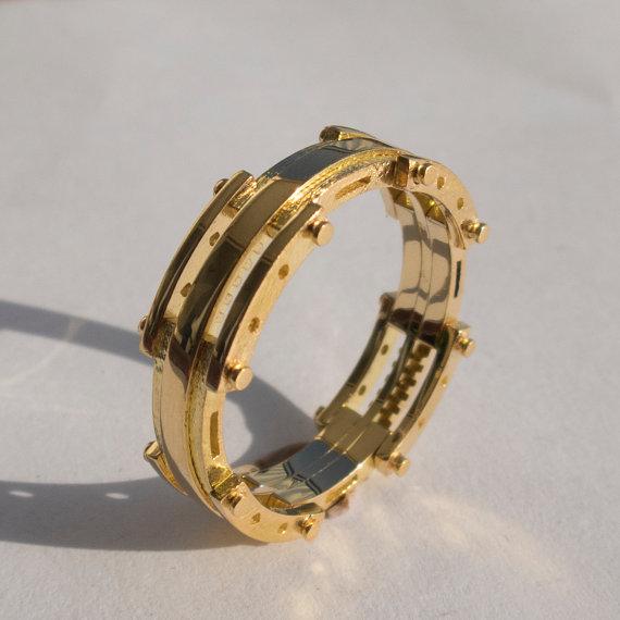 Свадьба - Gold Wedding Band, Men's 14K Gold Wedding band, Wedding ring, Mens ring, mens jewelry, steampunk band