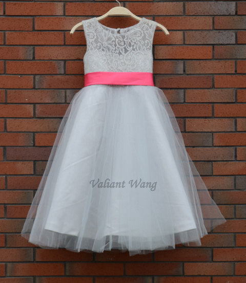 Grey Lace Flower Girl Dress Pink Sash White Country Wedding Baby Girls Tulle Rustic Birthday