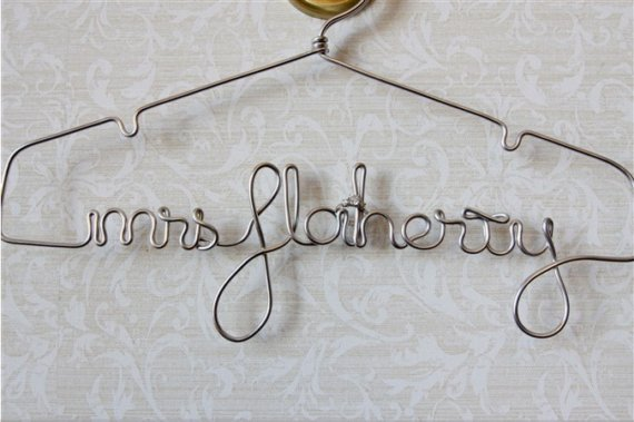 Hochzeit - Personalized Wire Hanger, Bridal Hanger, Wedding Name Hanger, Bridal Custom Dress The Original By LilaFrances Silver Lingerie Hanger