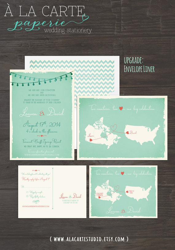 Mint and coral two countries wedding invitation two countries two mint and coral two countries wedding invitation two countries two hearts one big celebration wedding invitation rsvp postcard design fee stopboris Gallery