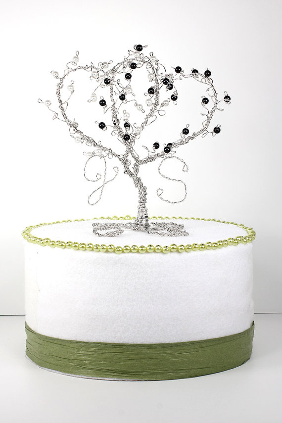 Double Heart Wedding Cake Topper Two Hearts Entwined Custom Topiary Wire  Sculpture