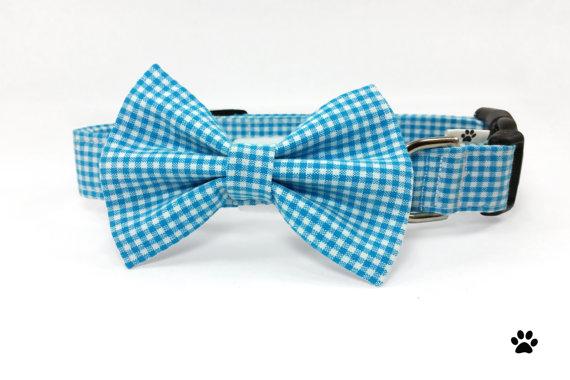 Свадьба - Blue gingham bow tie collar set - cat and dog bow tie and collar set, pet, blue dog collar, blue cat collar, blue bow tie collar set