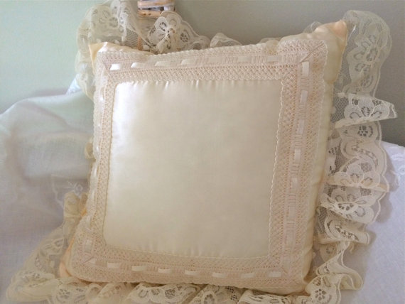 Ecru satin pillow wedding ring pillow lace wedding for Lace home decor