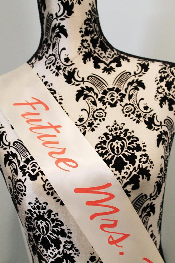 Mariage - CORAL Bachelorette sash future mrs sash bridal shower sash, bride to be sash
