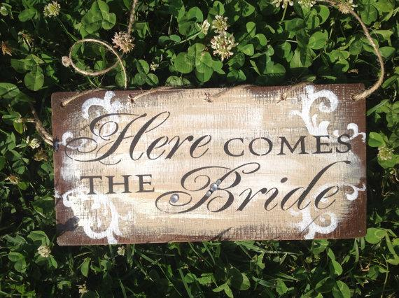 Wedding - Double sided, Fall wedding, brown wedding decor, Rustic, shabby chic, here comes the bride, sign