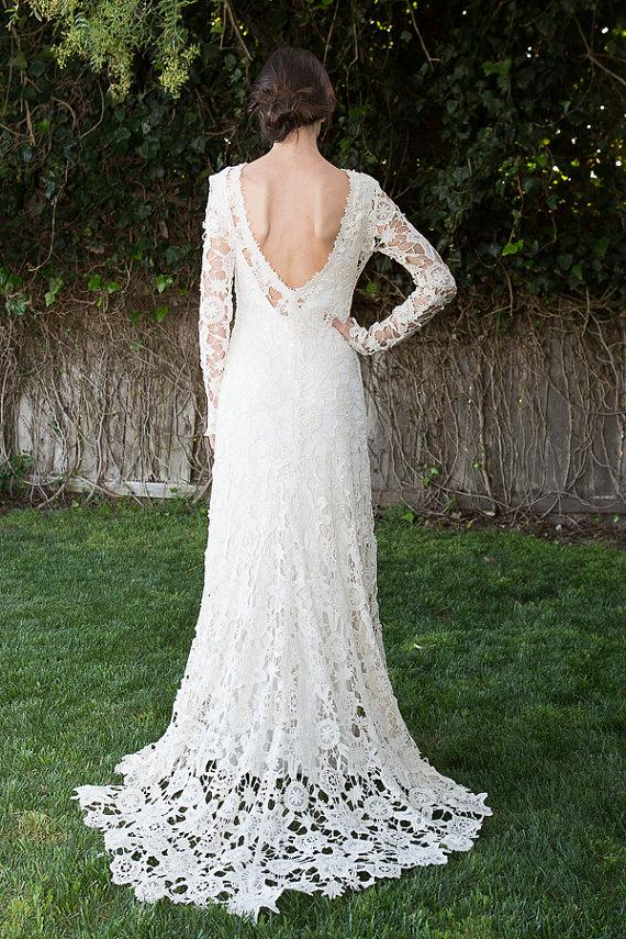 Hochzeit - Low Back Bohemian Wedding Dress. Crochet Lace Dress. Long Sleeves. Train. Vintage Inspired Boho Wedding Dress. Open Back. Ivory or White