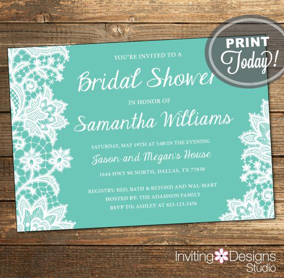 Lace Bridal Shower Invitation Wedding Shower Invitation Lace Aqua