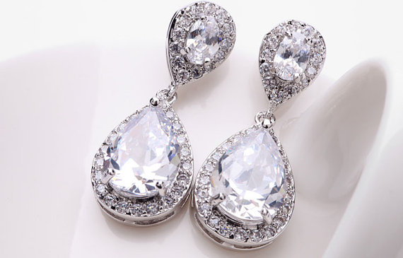 Mariage - Bridesmaid Swarovski Earrings, Wedding Bridal Bridesmaids Earrings, Teardrop Dangle Earrings, Wedding jewelry by Das Monica