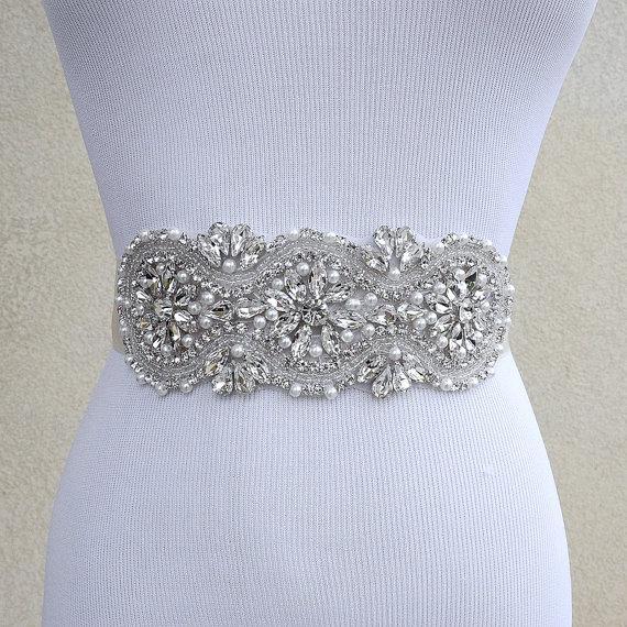 Mariage - Bridal Sash Belt Wedding Dress Sash Belt Rhinestone and Pearl Wedding Sash Belt Rhinestone Sash Belt Ivory Ribbon SA019LX