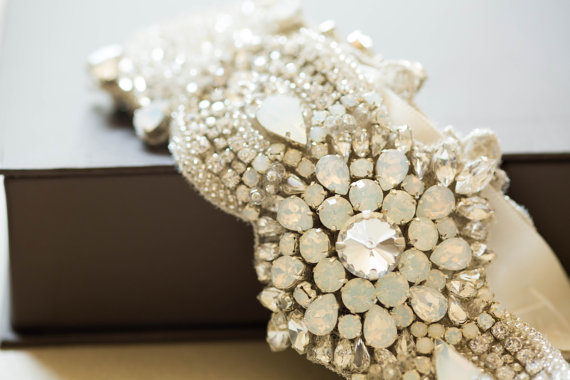 Mariage - Opal and silver bridal belt - Style R51