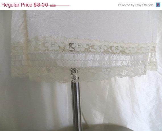 Wedding - Vintage 70s womens slip half slip off white slip lace slip womens lingerie by Mel Lin