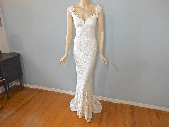 Cream Wedding Gown: RESERVED Kristina MERMAID Lace Wedding Dress Vintage