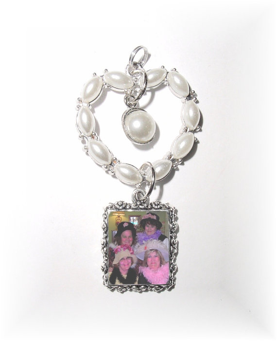 Wedding - DIY - Wedding Bouquet Memorial Silver Photo Charm Pearls Heart- FREE SHIPPING