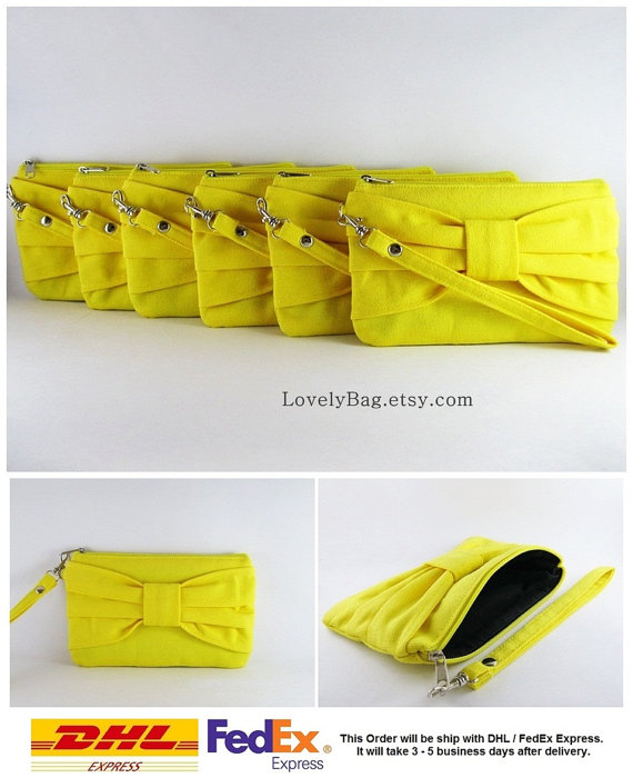 Wedding - Set of 9 Bridesmaids Clutches, Wedding Clutches / Yellow Bow Clutches - MADE TO ORDER