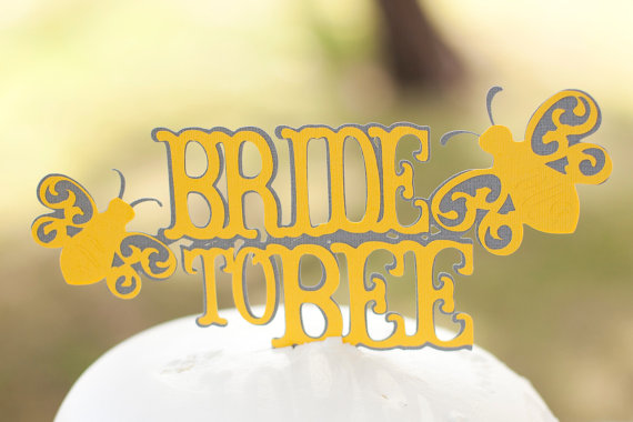 Wedding - Bride to Bee Bridal Shower Cake Topper Yellow and Grey - Bride to Bee Theme Shower - Meant To Bee Wedding Cake Topper - Gift idea for Bride