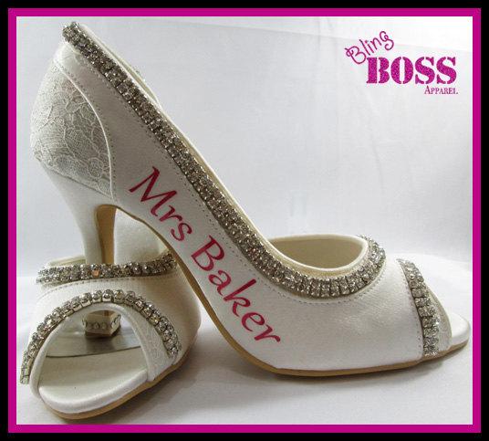 Свадьба - Mrs New Last name Personalized Bridal Heels Wedding Ivory Bridal Shoes 3.5 inch Peep Toe Satin Bow Rhinestone Bling Pumps Bride Gift