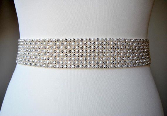Wedding - Stunning Pearls Crystal Bridal Sash -8 rows,Wedding Dress Sash Belt,Rhinestone Sash, Wedding Rhinestone Bridal Bridesmaid Dress Sash Belt