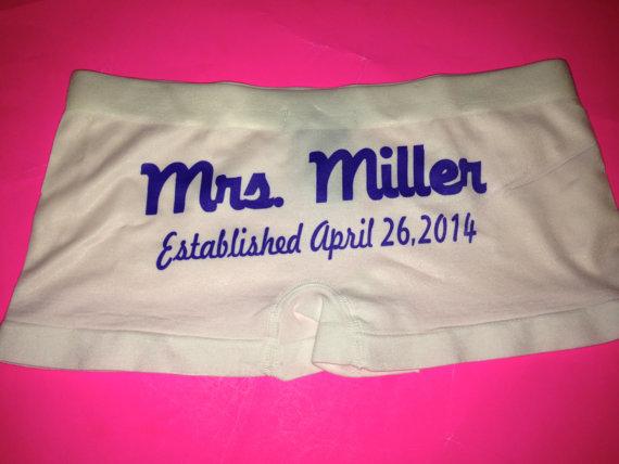 Wedding - Personalized Future Mrs. Underwear. Future MRS Bride Panties. White Underwear. Mrs Gift. Mrs Boy shorts. honeymoon Gift. Something Blue