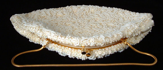 Wedding - 1950s White Beaded Bag Purse Pearls Sequins Hong Kong Wedding Prom Clutch Party Purse