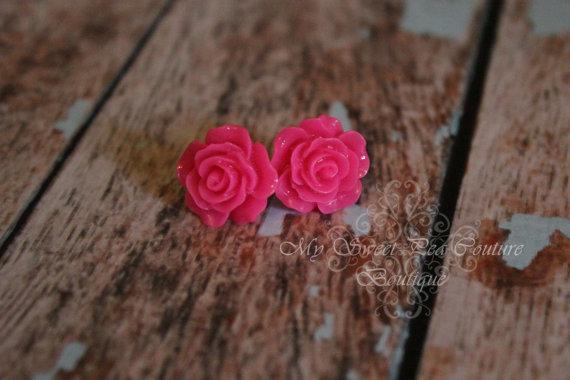 Wedding - Hot Pink Rose Earrings- Flower Earrings- Rose Earrings- Wedding Jewelry- Brides Maid- Flower Girl- Bridal Jewelry- Cabochon Earrings