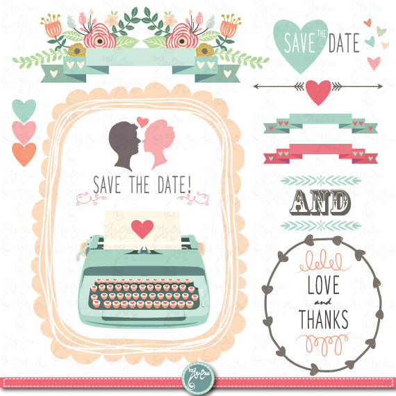 "Mariage - Wedding Clipart pack ""WEDDING CLIP ART"" pack Vintage Flowers,Floral Frames,Wreath,Wedding invitation,Valentine, Instant Download Wd022 ."