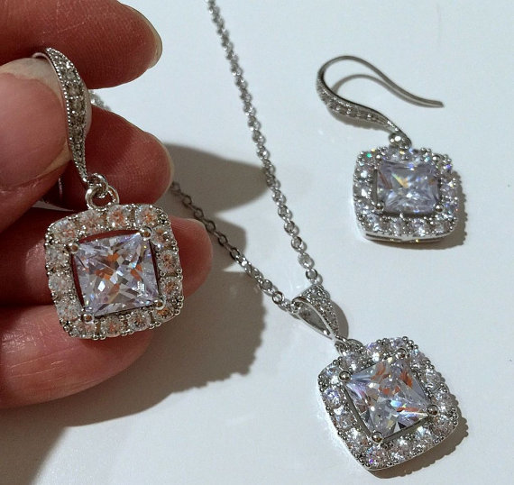 Wedding - Square Bridal Jewelry Set, Princess Cut Cubic Zirconia Earrings, Pave Cz Necklace, DIAMANT